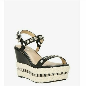 Stud faux Leather Wedges
